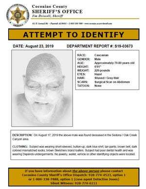 The body of an elderly man found Aug. 17, 2019, in Oak Creek Canyon was identified Monday, Aug. 27, 2019, as missing 87-year-old Alan Arvey of Sun City.