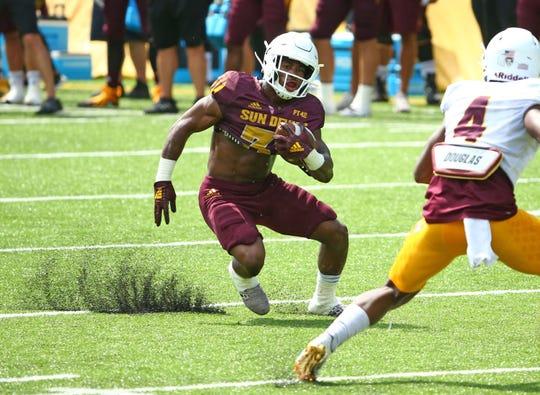 ASU running back Isaiah Floyd (31) during practice at Camp Tontozona earlier this month.