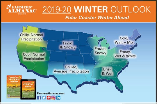 2019-20 winter outlook map from The Farmers' Almanac.
