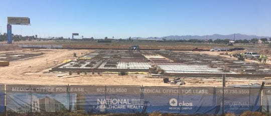 Under construction is the first phase of the AKOS Medical Campus boasting 68,000 square-feet of Class A medical office buildings and featuring a multi-specialty clinical timeshare space and surgery center, and 24-hour urgent care clinic.