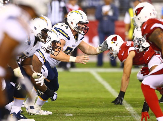 Chargers center Rich Ohrnberger (74) in action against the Cardinals on Sep 8, 2014 at University of Phoenix Stadium.