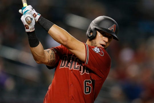 Arizona Diamondbacks left fielder David Peralta (6) in the first inning during a baseball game against the Colorado Rockies, Wednesday, Aug. 21, 2019, in Phoenix.