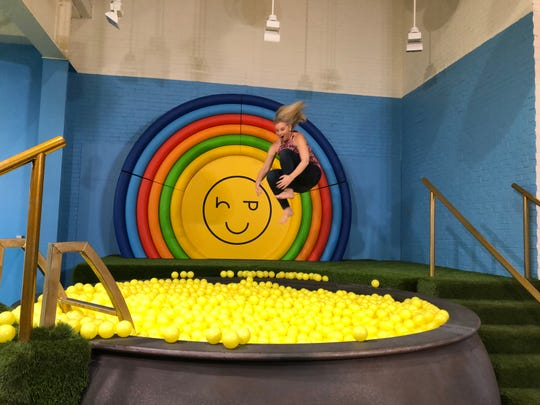 Visitors can jump into the ball pit at the Happy Place at Mandalay Bay in Las Vegas.
