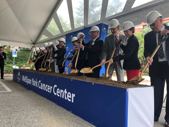 Local politicians joined physicians from WellSpan Health on Tuesday, Aug. 27, at a ground breaking ceremony for the WellSpan York Cancer Center's $45 million expansion at Apple Hill Medical Center in York Township.