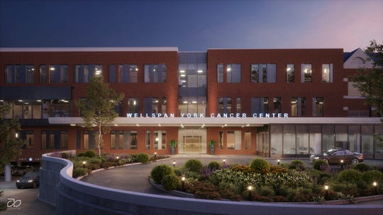 This digital architectural rendering shows what the newly expanded WellSpan York Cancer Center in York Township will look like when it's completed in early 2021.