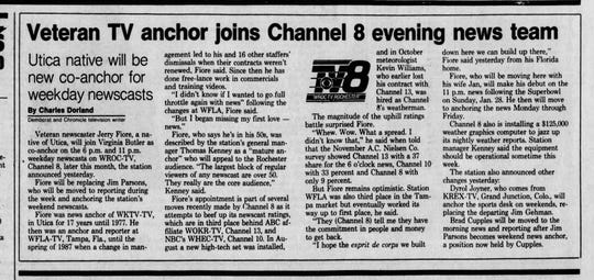 Announcement of Jerry Fiore joining Channel 8 evening news team, Jan. 4, 1990