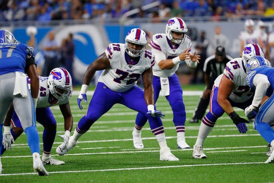 Buffalo Bills offensive tackle Jarron Jones played 28 snaps against the Lions Friday night.