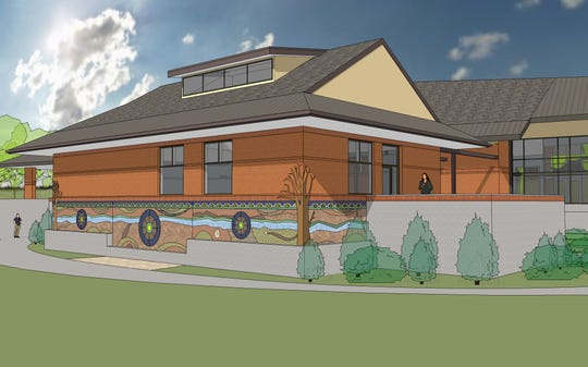 Salem's Riverfront Carousel has offered Salem Peace Mosaic a new home on the back wall of its planned annex, The Stables. As this architectural rendering shows, the mosaic would wrap around each corner.