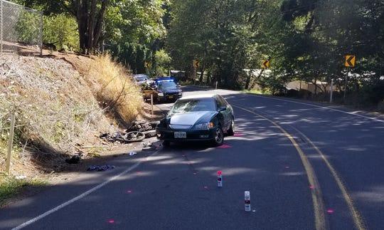 A crash southeast of Silverton Monday left a motorcyclist dead.