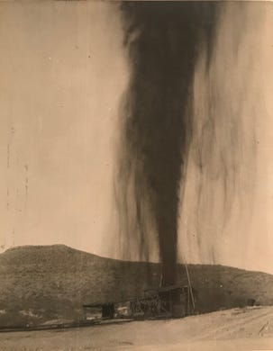 Another oil well roars to life in this undated Standard-Times file photo. As new oil fields were discovered in West Texas after 1923, coverage of the petroleum industry became a major component of the newspaper.