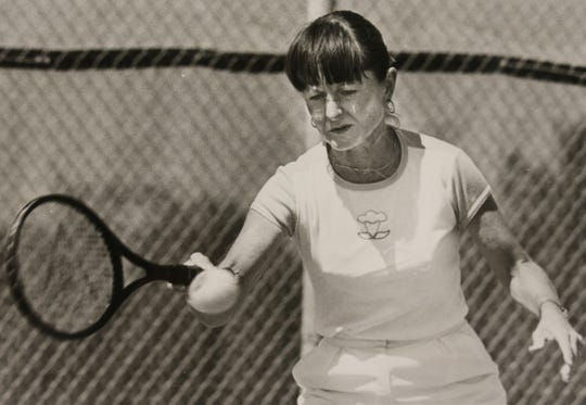 Nancy Richey returns a shot during an exhibition match in this 1983 photo.