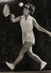 Nancy Richey practices her tennis game in this file photo from 1982.