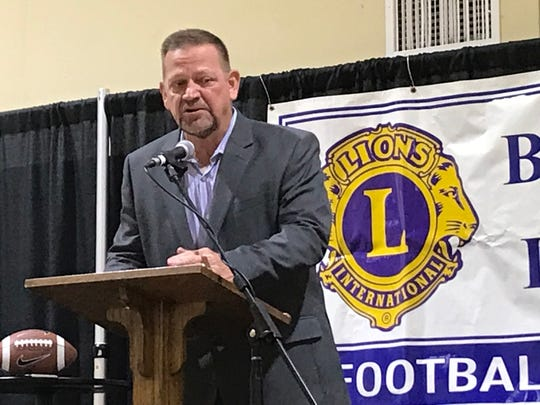 Bossier Schools Superintendent Mitch Downey talks to coaches at the 66th Annual Bossier Lions Club Coaches' Dinner Monday night.
