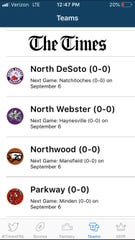 Full schedules and live scoring is available for 39 northwest Louisiana high school football teams on the Friday Night Live app this season.