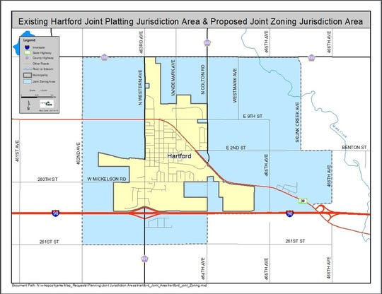 Proposed joint zoning area for the city of Hartford and Minnehaha County. The Minnehaha County Commission denied Hartford's request for joint jurisdiction Tuesday, Aug. 27.