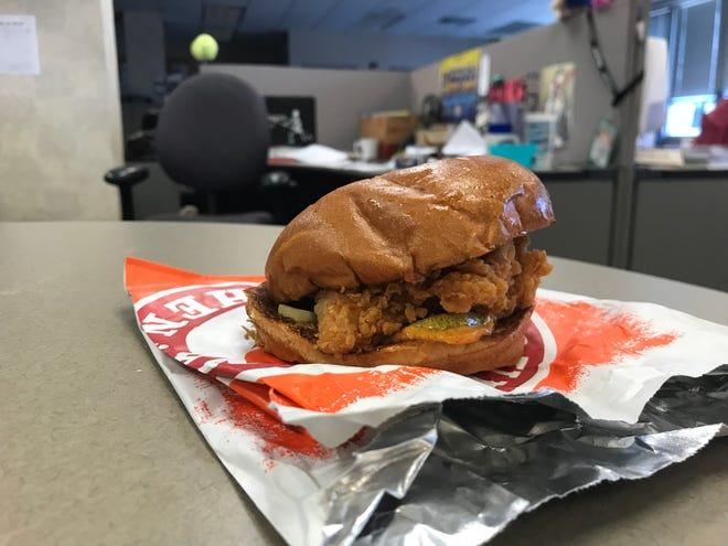 A Popeye's chicken sandwich.