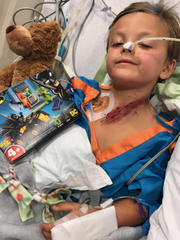Jairus Neve, 5, was transported to the hospital after a crash in east Sioux Falls that killed three people on Saturday. He remains in the hospital with abdominal injuries, according to family.