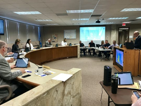 Minnehaha County Planning Director Scott Anderson briefs the commission on a proposed joint jurisdiction with the city of Hartford on Tuesday, Aug. 27, 2019.