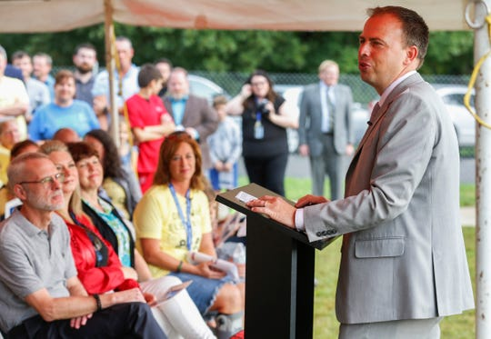 John Jungmann, superintendent of Springfield Public Schools, speaks during the groundbreaking ceremony for the new Delaware Elementary School on Monday, Aug. 26, 2019, in Springfield, Mo.