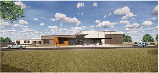 An artist rendering showing the front of the new Delaware Elementary School.