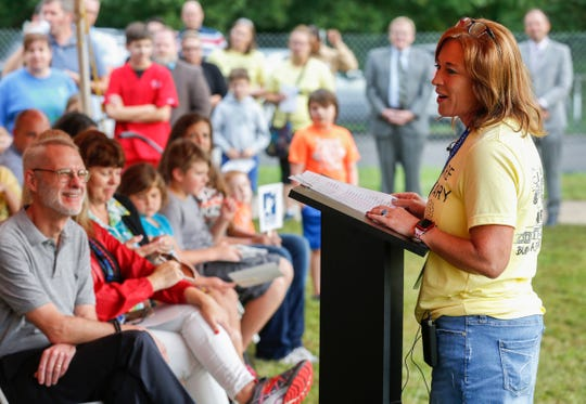 Stephanie Young, principal of Delaware Elementary School, speaks during the groundbreaking ceremony for the new Delaware Elementary School on Monday, Aug. 26, 2019, in Springfield, Mo.
