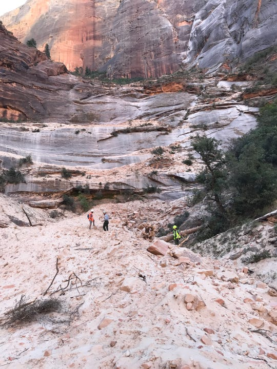 Work crews at a major rockfall at Zion National Park, which happened on Saturday, Aug. 24, 2019.