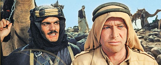 "A remastered ""Lawrence of Arabia"" starring Peter O'Toole, right, and Omar Sharif will screen at the Regal Governor's Square theater on Sept. 1 and Sept. 4."