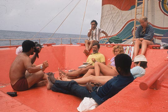 "Picture of the 1973 Acali raft that crossed the Atlantic with eleven people onboard in a controversial scientific experiment in human behavior. From the documentary film ""The Raft"" directed by Marcus Lindeen."
