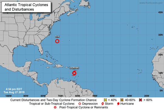 Tropical Storm Dorian, 5 p.m., Aug. 27, 2019