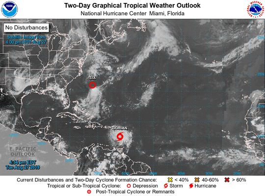 Tropical Storm Dorian, 5 p.m., Aug. 27, 2019