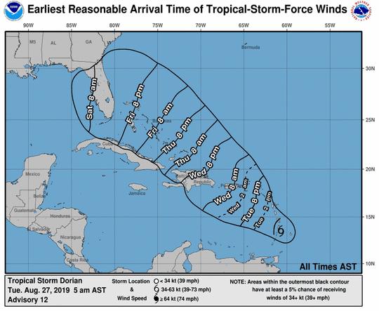 Tropical Storm Dorian 5 a.m.  Aug. 27, 2019
