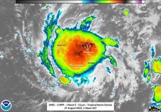 Tropical Storm Dorian passes over the Lesser Antilles Aug. 26-27, 2019.