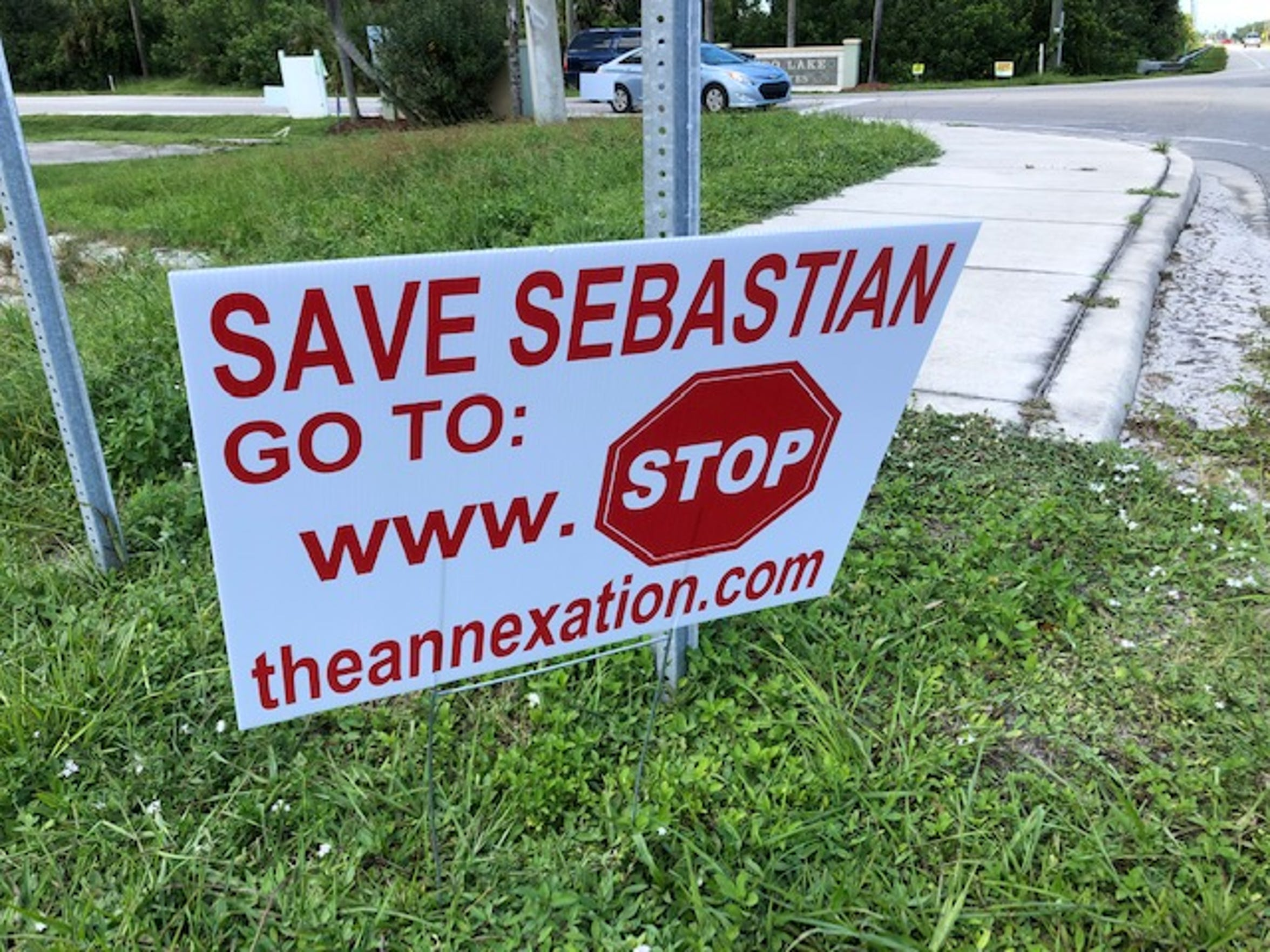 Opposition continues to grow to the proposed annexation of 1,118 acres into Sebastian. These signs are along County Road 510.
