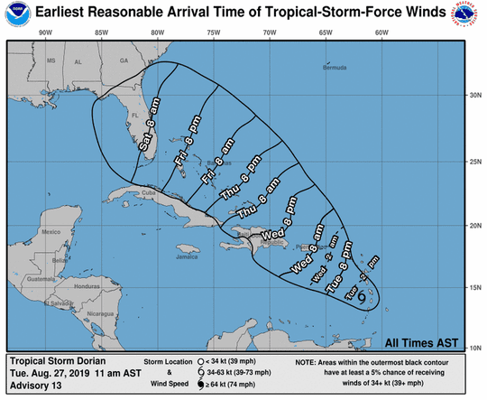 Tropical Storm Dorian at 11 a.m. Aug. 27, 2019