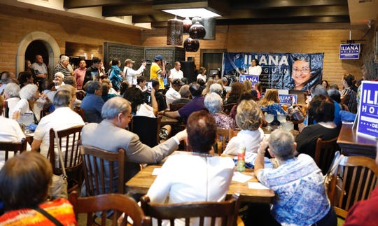 Iliana Holguin, current chair of the El Paso County Democratic Party, announces her candidacy for county commissioner Precinct 3 on Monday, Aug. 26, 2019, at Julio's Cafe Corona.
