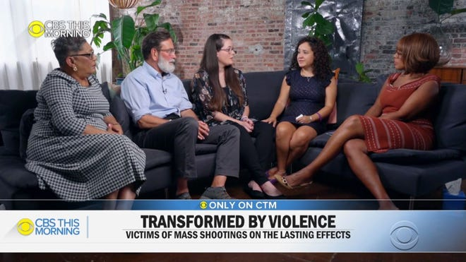 "Gayle King, right, of ""CBS This Morning"" sits with victims of mass shootings, including Stephanie Melendez, third from left, for an interview Tuesday, Aug. 27, 2019. Her father, David Johnson, was one of the victims in the mass shooting at an East Side Walmart on Aug. 3, 2019."