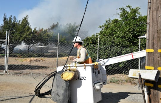 A mobile home fire in Cutler damaged power lines in the area.