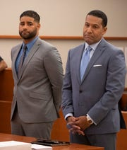 Juan Rodriguez, 39, appears with attorney Joe Jackson in front of Judge Pitt for his hearing on leaving his two infants in the back seat of his car and they died. The hearing was adjourned to September 24th, 2019.