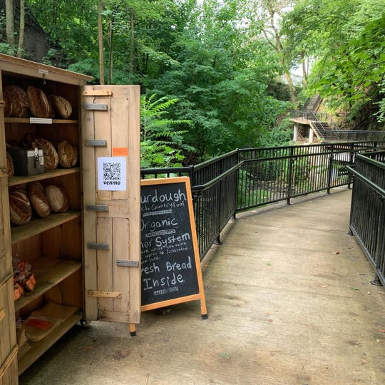 Chase Fox Harnett deploys his Hudson Oven bread cupboard in scenic spots, to encourage Sunday strolling.