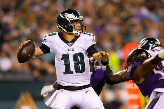 Josh McCown of the Philadelphia Eagles throws a pass in the second quarter of a preseason game against the Baltimore Ravens at Lincoln Financial Field Thursday.