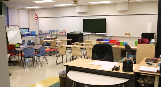 An empty classroom at the Bayard School in Wilmington.  After last year's school year ended in June, three schools in the city were consolidated into Bayard.