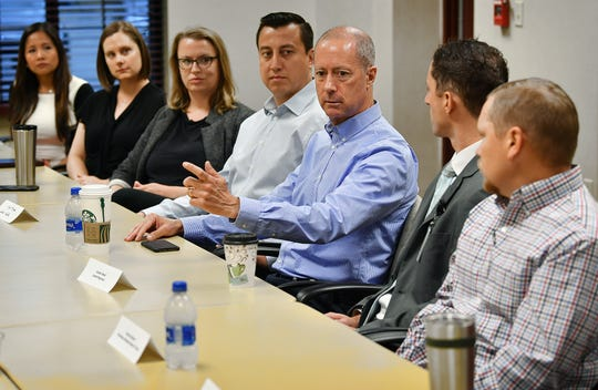 U.S. Rep. Mac Thornberry met with a group of young business professionals Tuesday morning at First Bank.