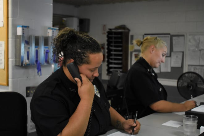 Corrections Officers Rochelle Roessler (left) and Eva Jones both started working as corrections officers at the jail this year.