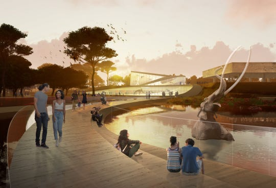 This rendering of what the La Brea Tar Pits could look like from Weiss/Manfredi shows a proposed pedestrian path connecting the existing elements of the site, enhancing amenities for community engagement and research and revealing the museum collection.