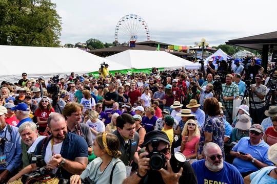 A crowd waits to see Sen. Kamala Harris speak at the Iowa State Fair on Aug. 10, 2019.