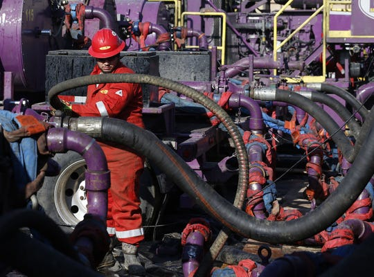 Hydraulic fracturing operation near Mead, Colorado.
