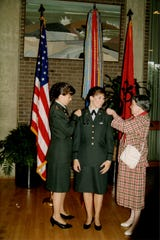 Maj. Gen. Maria Barrett and her mother,