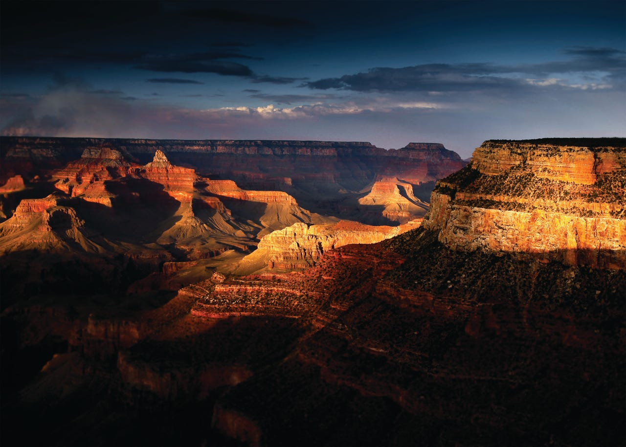 Shadows cover the south rim in Grand Canyon National Park (Xanterra Travel Collection)
