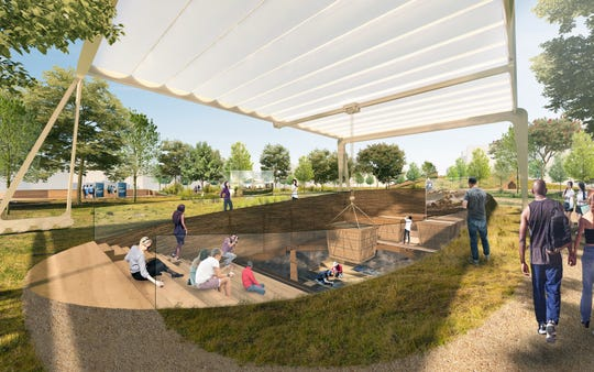 """This rendering of what the La Brea Tar Pits could look like from DS+R shows a publicly accessible dig site supported by a mobile """"Dig Rig,"""" designed to anticipate current and future digs in the park."""