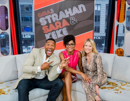 Keke Palmer, center, with her co-hosts Michael Strahan and Sara Haines.